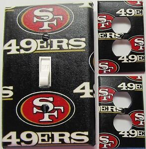 San francisco 49ers custom light switch wall plate covers for 49ers room decor