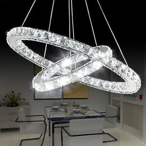 2 Ring Crystal Led Pendant Light Ceiling Lamp Galaxy Chandelier Lighting Fixture Ebay