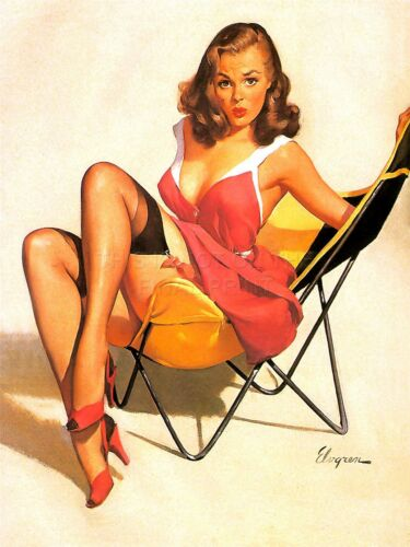 PRINT PAINTING PORTRAIT PINUP GIRL RED DRESS STOCKINGS CHAIR HEELS USA NOFL0853