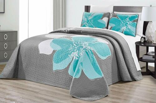 """115/"""" X 95/"""" Quilt Set Reversible Bedspread Coverl 3-Piece Fine Printed Oversize"""