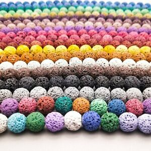 Strand Natural Stone Lava Rock Round Loose Beads For DIY Jewelry Making 8mm