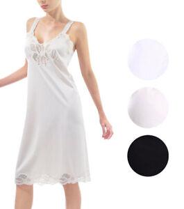 Women-039-s-Adjustable-Strap-Plus-Size-Nylon-Ilusion-Full-Slip-Lace-Trim-1112