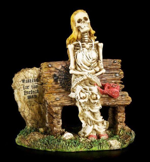 Waiting For The Perfect Man Skeleton Skull Figurine Love Never Dies