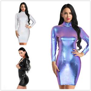 Women-Metallic-Holographic-Long-Sleeves-Slim-Bodycon-Mini-Dress-Cocktail-Party