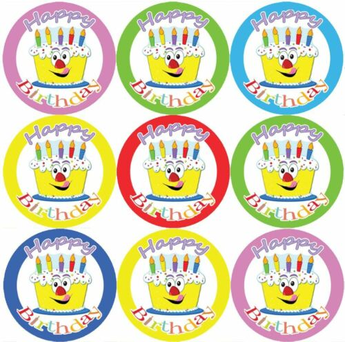 Size 30 mm Parents 144 Happy Birthday Cake Themed Reward Stickers Teachers
