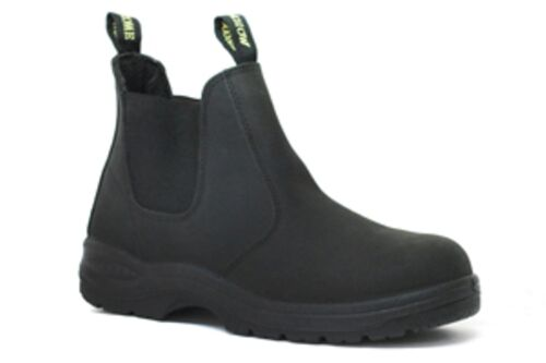 "Cheap *SALE* Work Zone Black 6"" Elastic Pull-On Full Grain Leather- Steel Toe -S660BLK hot sale"