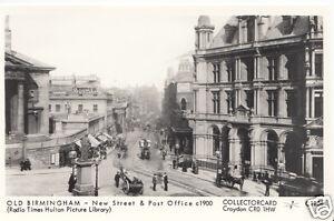 Warwickshire-Postcard-Old-Birmingham-New-Street-amp-Post-Office-c1900-U1901