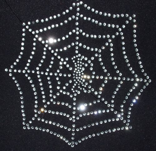 SPIDER WEB iron-on transfer applique crystal patch GEM