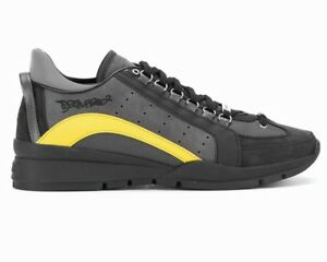 newest b6baf ed669 Dettagli su Dsquared2 551 Sneakers Snm0404 M069 Leather Dsquared Mens  Trainers Black Shoes