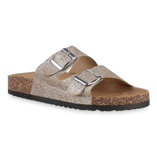 Damen Pantoletten Sandalen Hausschuhe Glitzer Korkoptik Schuhe 830690 Trendy