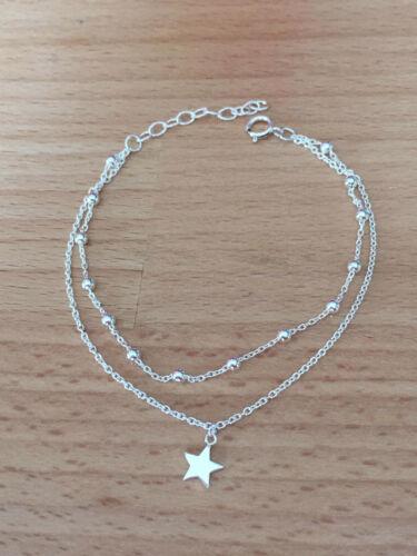 bracelet double en argent massif 925 Femme Boules et étoiles thanina bijoux