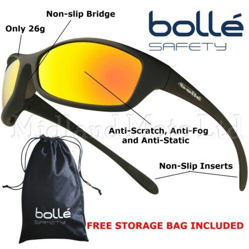 1 of 1 - Bolle Spider Flash  Mirror Lens Safety Sunglasses,,  EN166 -1FT Safety Glasses