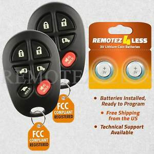 Details About Replacement For Toyota Sienna Keyless Entry Remote Car Key Fob 6b Pair