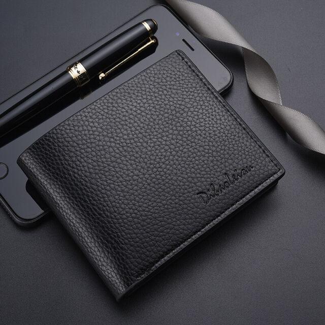 Men PU Leather ID credit Card holder Clutch Bifold Coin Purse Wallet Pockets FI