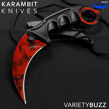 TACTICAL COMBAT KARAMBIT NECK KNIFE Survival Hunting Fixed Blade RUBY DOPPLER