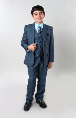 Boys 6 Piece Sharkskin Suit Kids Children Formal Wedding Ring Bearer Suits