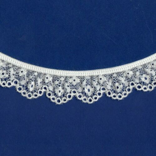 "SAPPHIRE LACE Frilled Gathered White 25mm~1/"" trim~SLFR14710 ~ PER METRE."