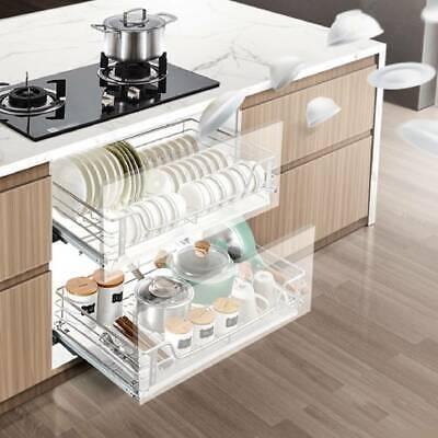 600mm Kitchen Pantry Pull Out Sliding Metal Wire Basket Drawer Storage Cabinet Ebay