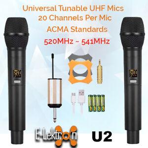 E-Lektron-Dynamic-UHF-Universal-2-Tunable-Wireless-Handheld-Microphone-System