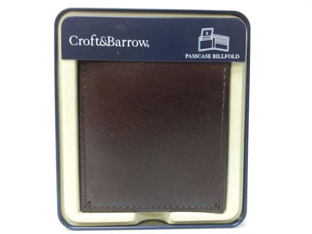 Croft & Barrow Passcase Billfold Leather Wallet; Chocolate Brown