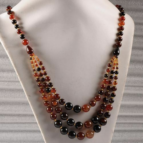 """0656 12-7mm Dream Agate round beaded necklace 26"""""""