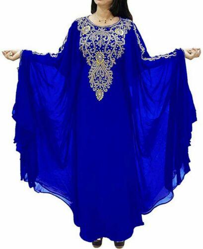 ABAYAS ROYAL BLUE MODERN ARABIC ISLAMIC KAFTAN PARTY WEAR HAND EMBROIDERY DRESS