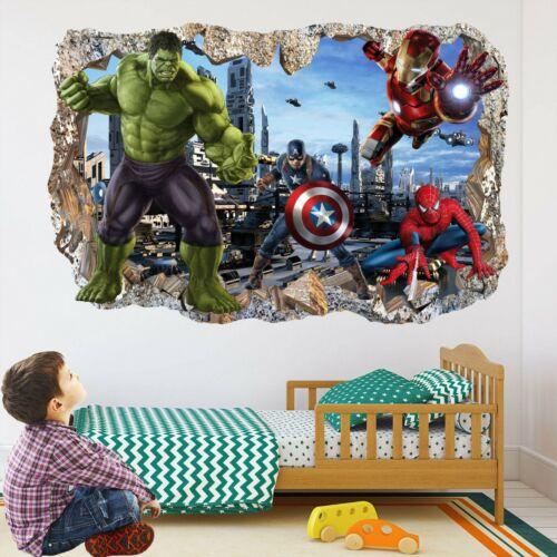 Super Héros des Avengers Wall Art Autocollant Mural Decal Hulk Spiderman Iron Man EA103