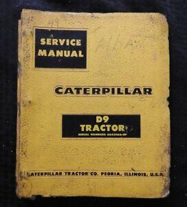 Genuino-1962-66-Caterpillar-D9-D-9-Crawler-Tractor-Servicio-Reparar-Manual-Buen