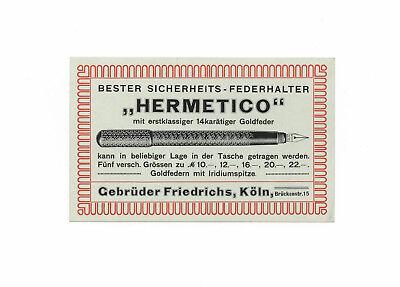 Sinnvoll Alte Hermetico - Federhalter - Werbung – Original-blatt, Um 1910 – Aus Köln !