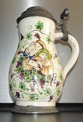 Drinking  German FAIENCE Lidded Beer Stein Walzenkrug Faience antique Bar scene