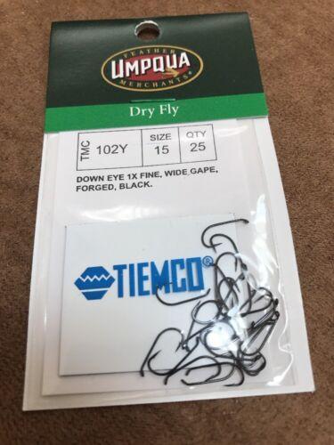 Umpqua Tiemco Fly Fishing Hooks Model Dry Fly TMC 102Y Size 15 Quantity 25