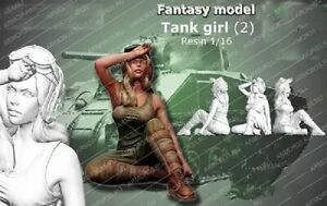 1-16-Resin-Figure-Model-Kit-US-Army-Sexy-Girl-Tank-WWII-Unassembled-Unpainted
