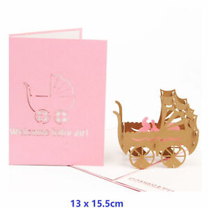 Baby-Carriage-3D-Pop-Up-Greeting-Cards-Birthday-With-Envelope