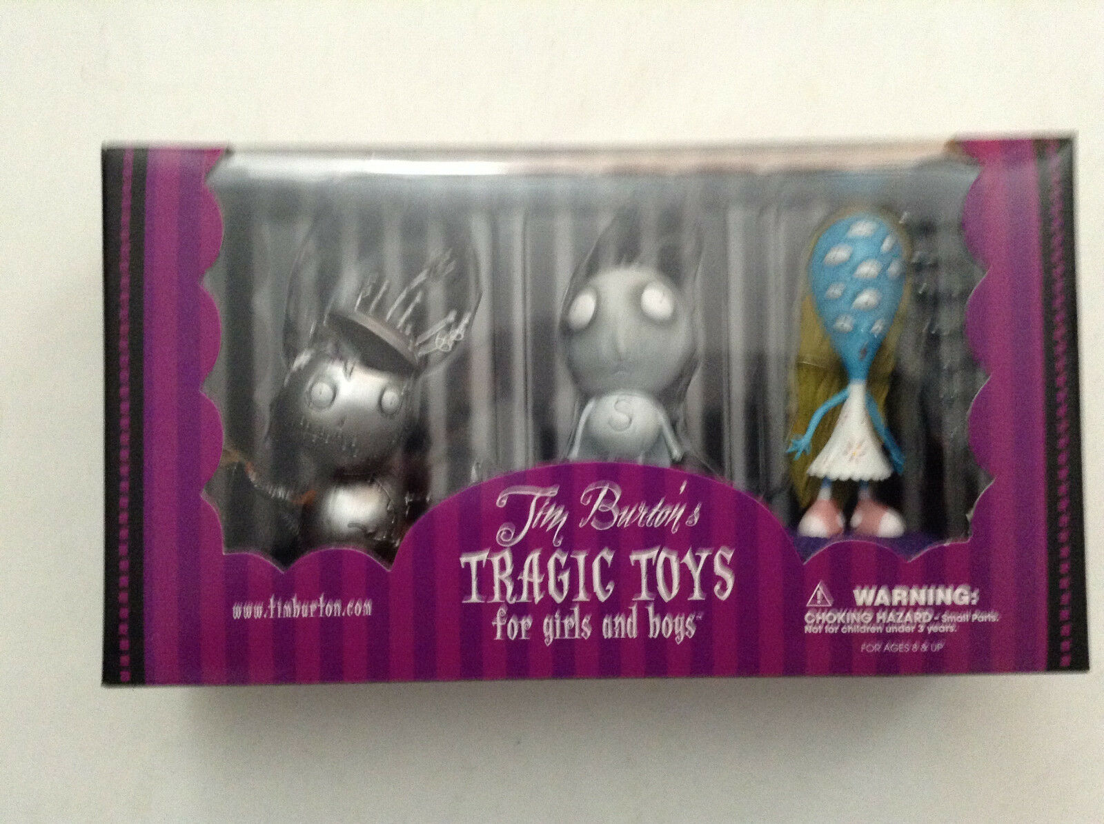 TIM BURTON'S TRAGIC TOYS 3-PACK PVC FIGURINE BOX SET ROBOT BOY STAIN BOY GIRL 12