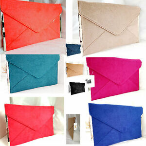 NEW NUDE FUSCHIA ROYAL BLUE NAVY RED FAUX SUEDE EVENING DAY CLUTCH BAG ENVELOPE