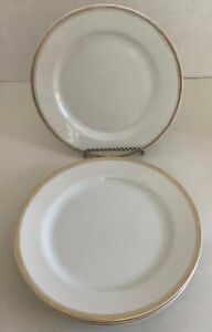 4-Antique-1920s-H-amp-Co-Selb-Bavaria-Bread-Dessert-Plate-With-Gold-Rim-6-1-4-Round