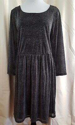Forever 21 Dress Plus Size 2X Occasion Metallic Black Silver Knee Length Party