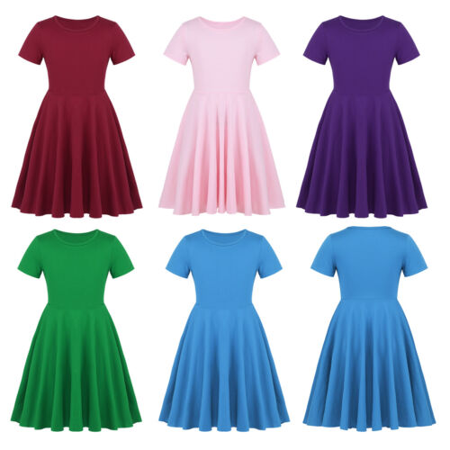 Girls Cotton High-Waisted Twirly Skater Dress Toddler Kids Casual Party Dresses