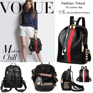 74ac9b067 Image is loading Leather-Backpack-Travel-School-Fashion-Gucci-Stripe-Style-