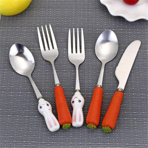 Cartoon Tableware Cutlery Fork Spoon Blade Stainless Steel Baby Dinnerware Set S