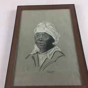 Eakin-Framed-Art-VTG-1975-Sketch-Drawing-70s-African-American-Woman-Older-Signed