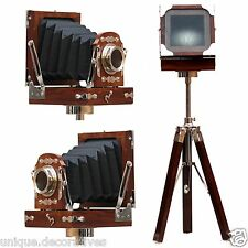 Antique Style Wooden Desk Camera Decorative Royal Office Home Tripod Gift Vintag