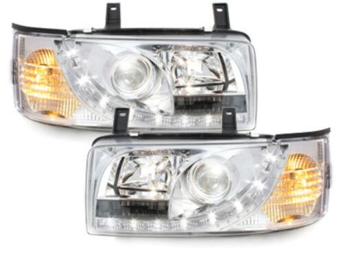 Europaw.zugel. VW T4 LED Tagfahrlicht Optik Scheinwerfer Chrom ab Baujahr 1990