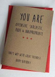 Personalised Handmade Birthday Card: Offensive Sarcastic ...