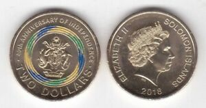 SOLOMON-ISLANDS-COLORED-2-UNC-COIN-2018-YEAR-10th-ANNI-INDEPENDENCE