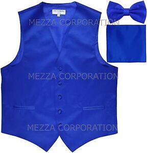 New Men's Vesuvio Napoli Tuxedo Vest Bowtie Hankie set prom party Royal Blue