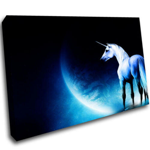 Unicorn Moon Magic Mythical Framed Wall Picture 3D Art Canvas Mount Room C381