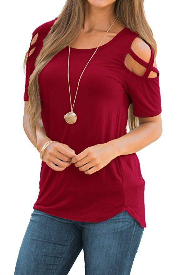 Mode Damen Frauen lässig O-Neck Kurzarm Crop Tops Print T-shirt ElR8