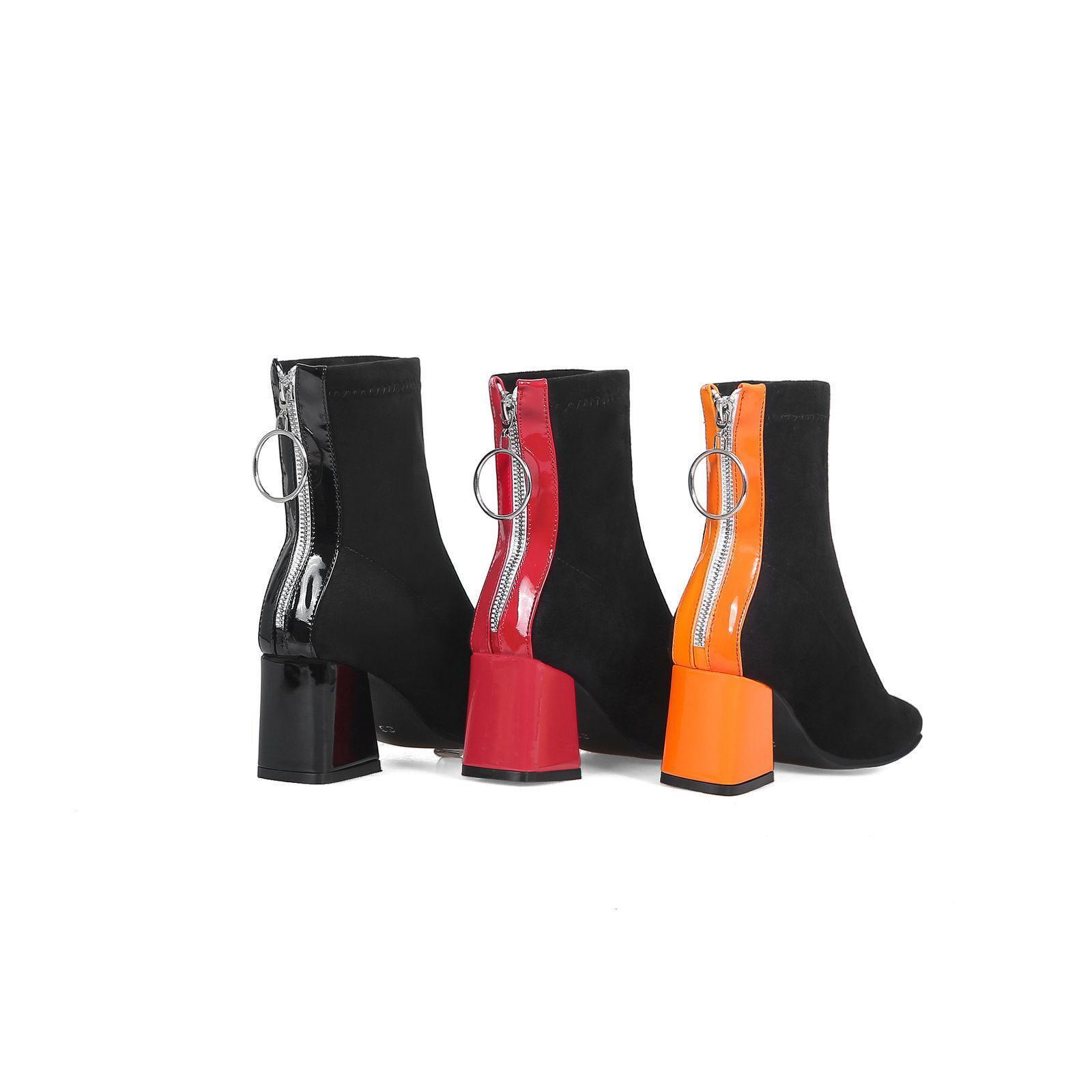 Black orange Red Block Heel shoes Ladies Suede Square Toe Back Zip Ankle Boots
