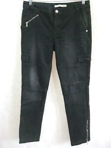 Karen-Millen-Size-12-or-10-Black-Denim-Skinny-Fashion-Cargo-Jean